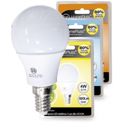 HOMEPLUSS LAMPARA ESFERICA LED E14 4W 6000K