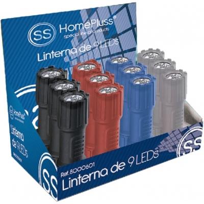 HOMEPLUSS LINTERNA PLASTICA 9LEDS C/PILAS INCLUIDA