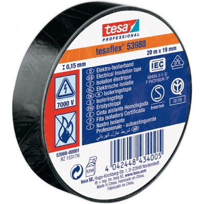 TESA-TAPE CINTA AISLANTE 53988-25MX25MM NEGRA