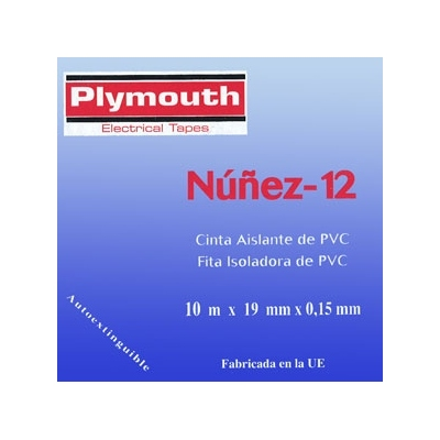 PLYMOUTH CINTA AISLANTE PVC 5072-10MX19MM ROJO