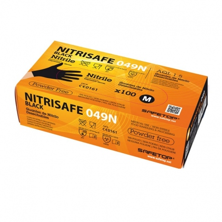 SAFETOP GUANTE DESECHABLE NITRILO 049N T-07 NEGRO 100UDS